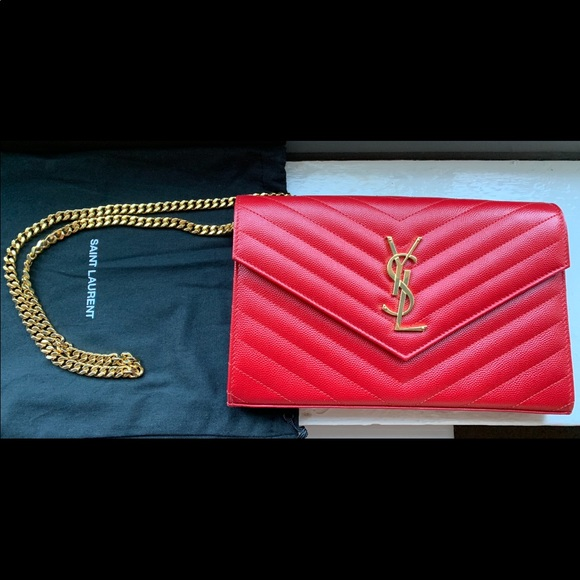 YSL Medium Monogram Leather Chain Wallet. NWT. Yves Saint Laurent d350e6455bf67